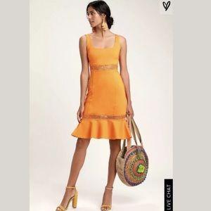 Lulus Bright Martini Orange Crochet Midi Dress XS